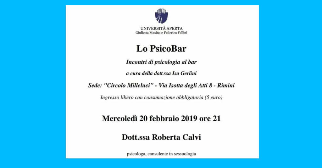 Università Aperta Rimini, Psicobar con la Dott.sa Roberta Calvi Psicologo Sessuologo